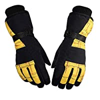 Han cheng he Ski & Snow Gloves Winter Warm Gloves Motorcycle Gloves Outdoor Windproof Five-Finger Ski Gloves Gloves for Motorcycle Ridding Gloves Fits Both Men & Women (Color : Yellow)
