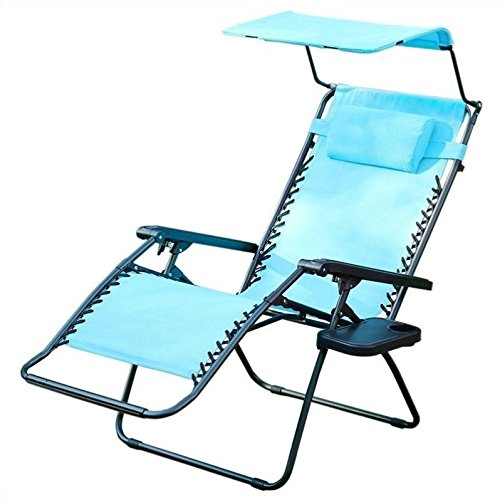 Jeco Inc. Oversized Zero Gravity Chair with Sunshade and Drink Tray - Pacific Blue