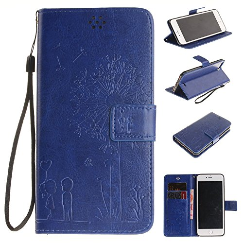 iPhone SE Case Apple iPhone 6SE Flip Wallet Case,Bat King Dandelion Witness Love[Kickstand]Leather Wallet Flip Stand Cover with Strap for Apple iPhone 6SE 4 inch(Didn't fit iPhone 6/6s)(Navy Blue)