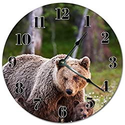 10.5 BEAUTIFUL GRIZZLY BEARS Clock - Large 10.5 Wall Clock - Home Décor Clock