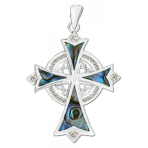 Celtic Eternity Trinity Cross - Cubic Z, Abalone - 316L Stainless (Abalone Cross Pendant)