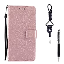 """iPhone 5s Case, SsHhUu Premium PU Leather Folio Wallet [Sun Flower] Magnetic Stand Credit Card Slot Flip Protective Slim Cover Case + Stylus Pen + Lanyard for Apple iPhone 5/5S/SE (4.0"""") Rose Gold"""