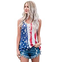 Blouse,SUPPION Women American Flag Printed Tank Tops Casual Blouse T Shirt Vest