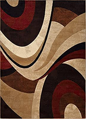 Home Dynamix Tribeca Slade Area Rug | Contemporary Living Room Rug | Bold Abstract Design | Warm-Inviting Feel | Brown