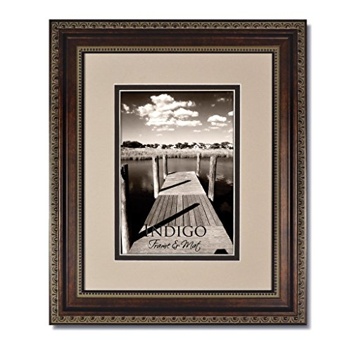 Set of 3 - 5x7 Ornate Heritage Bronze Picture Frames and Clear Glass with Double Oyster/Espresso White Core Mat for (New Bronze Core)