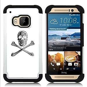 """Pulsar ( Blanco Plata Crossbones Cráneo Negro"""" ) HTC One M9 /M9s / One Hima híbrida Heavy Duty Impact pesado deber de protección a los choques caso Carcasa de parachoques"""