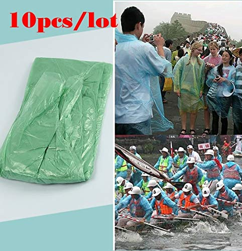 Raincoats - 10pcs Lot Wholesale Disposable Adult Emergency Waterproof Raincoat Hood Poncho Camping Plastic - Poncho Raincoat Waterproof Raincoats Clear Camping Toddler Women Dogs Plastic Hood Kids ()