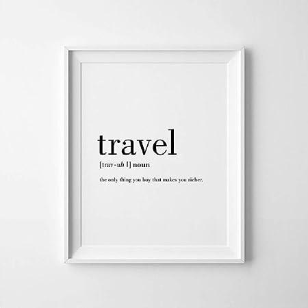 Definición de viaje Cita Pintura de lienzo Minimalista ...