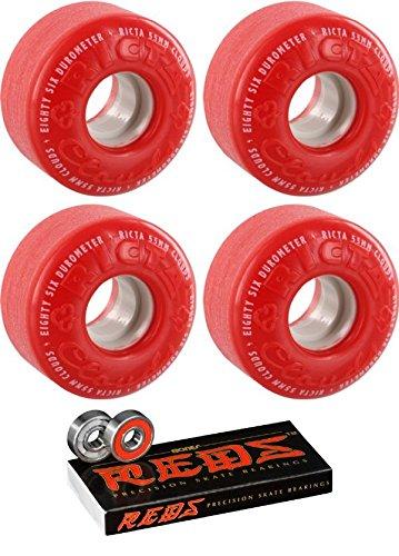 分子形牧草地Ricta 55 mmホイールCloudsスケートボードWheels with Bones Bearings – 8 mm Bones Reds Precisionスケート定格スケートボードベアリング – 2アイテムのバンドル