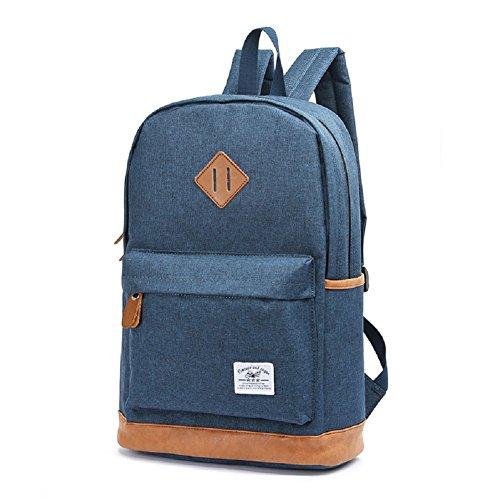 Unisex Klassischer Rucksack,Teenaged Leinwand Schulrucksack Reiserucksack,Leichter Laptop Rucksack, Schwarz Blau