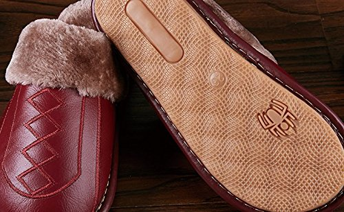 Cattior Cattio Mens Fur Lined Comfy Indoor Outdoor Leather Slippers Fuzzy Slippers Black 5rAsdbF
