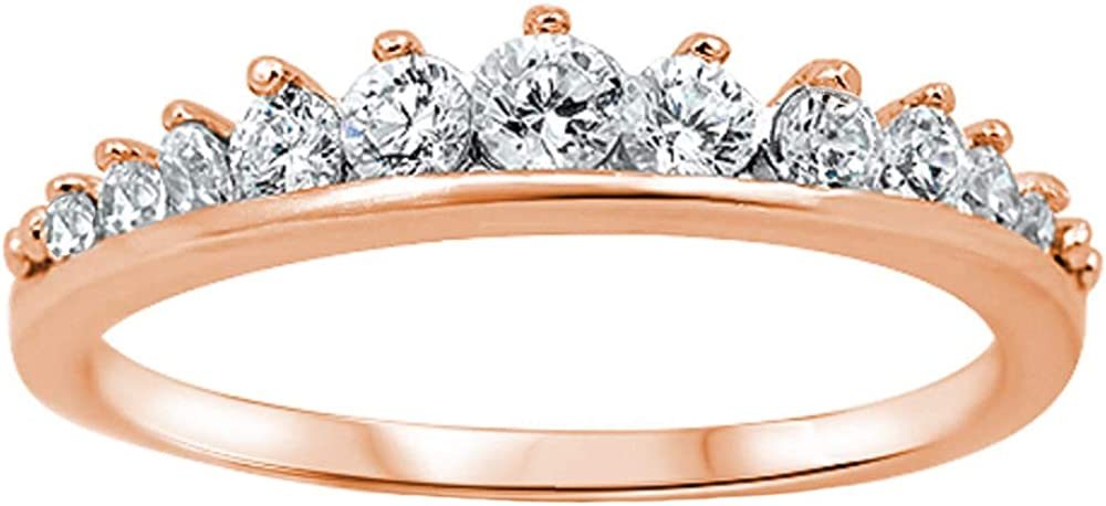 CloseoutWarehouse Cubic Zirconia Journey Tiara Ring Sterling Silver (Color Options, Sizes 3-15)