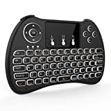 Tripsky H9 2.4GHz Backlit Mini Wireless Keyboard, Handheld Remote with Touchpad Mouse for Android TV Box, Windows PC, HTPC, IPTV, Raspberry Pi, XBOX 360, PS3, PS4(Black)