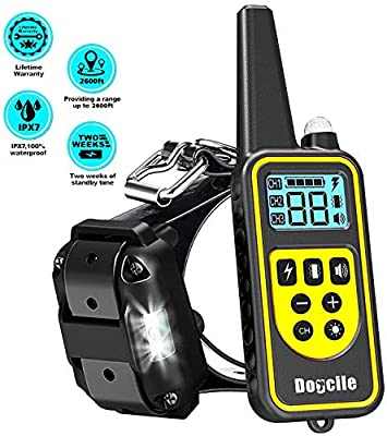 LINNSE Shock Collar for Dogs, Dog Shock Collar with Remote Control for  2600ft Range 100% Waterproof & Rechargeable Dog Training Collar with Remote