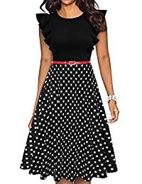 Owin Women's Vintage Floral Dress Patchwork Pockets Puffy Swing Casual Party Dress