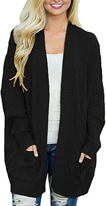 Pervobs Womens Knitted Cardigan Loose Solid Open Front Long Sleeve Pocket Sweater Coat Tops Blouse