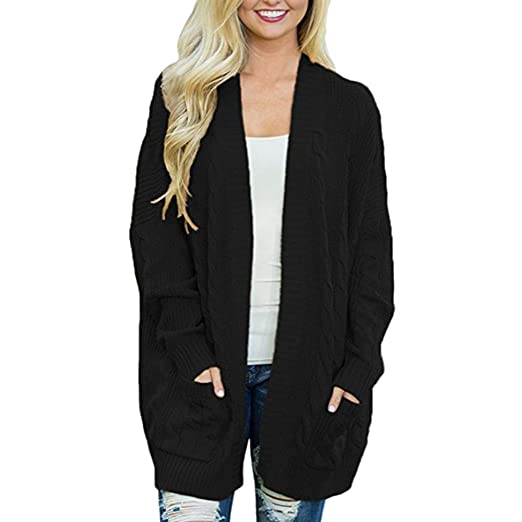 Pervobs Womens Knitted Cardigan Loose Solid Open Front Long Sleeve Pocket Sweater  Coat 393e4507b