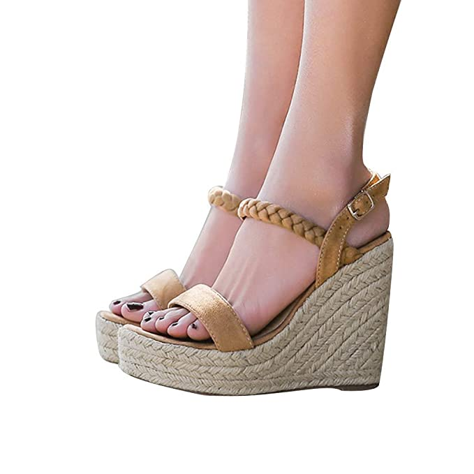 Bestow Pendiente de Paja Gruesa de Verano con Sandalias Femeninas de Plataforma de tacón Alto Bohemio Femenino Zapatos de Mujer: Amazon.es: Ropa y ...