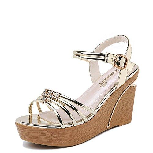 alti RUGAI e di Tacchi UE Golden fondo scarpe con donna sandali spessi delle da sandali qFqfrwZx