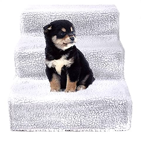JAXPETY Animals Favorite Pet Stairs, 3 Steps Ramp Ladder for Dogs, Portable, Ladder with Cover Indoor (3 Step Padded Dog Stairs)