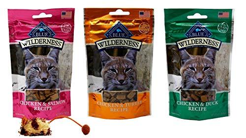 Blue Wilderness Grain Free Soft Moist Treats for Cats 3 Flavor Variety with Toy Bundle, (1) Each: Chicken Salmon, Chicken Turkey, Chicken Duck (2 Ounces)