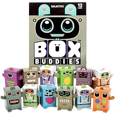Box Buddies Galactics - Pack of 12 Mini Box Space Explorers - Fun Papercraft Party Favors