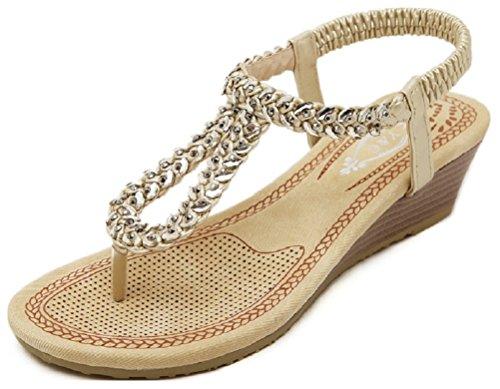 Gladiator Womens Sandals Gold Hanxue Summer Sandals Beach SPZI7w0