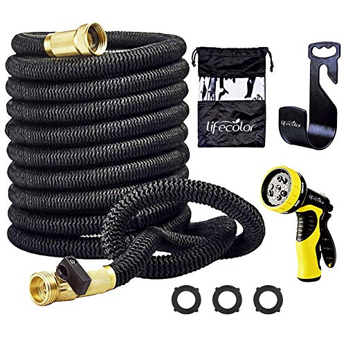 (lifecolor 50' Expanding Hose Stretch Hosepipe, 9 Functions Sprayer, Strongest Expandable Garden Hose with Double Latex Core, Solid Brass Connector and Extra Strength Fabric for Car Garden Hose Nozzle)