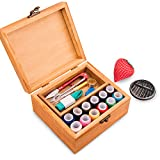 Sewing Kit BATTOP Wooden Sewing Box with 49PCS Premium Sewing Accessories for DIY Beginners Emergency Home Travel
