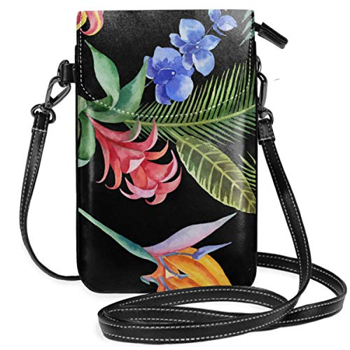Small Cell Phone Purse For Women Leather Tropical Leaf Insides Card Slots Crossbody Bags Wallet Shoulder Bag ()