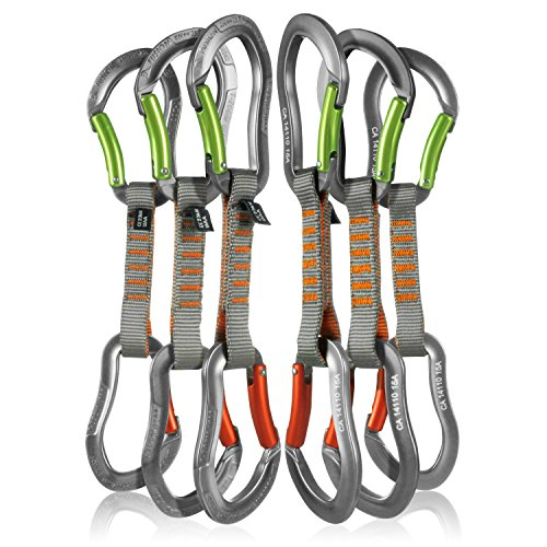 Fusion Climb 6-Pack 11cm Quickdraw Set with Techno Zoom Apple Green Bent Gate Carabiner/Techno Zoom Orange Bent Gate Carabiner by Fusion Climb