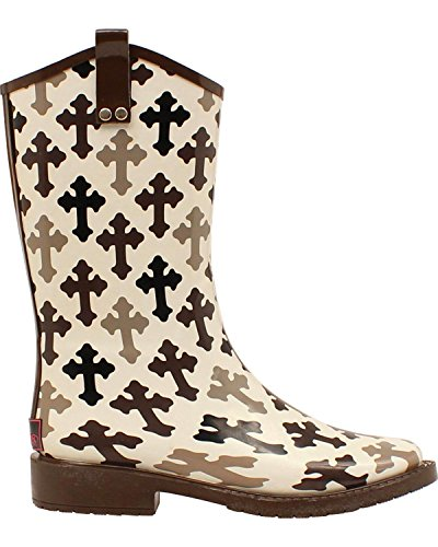 Blazin Roxx Women's Caroline Hope Cross Rain Boot Square Toe Blk/White 8 US (Boots Cross White)