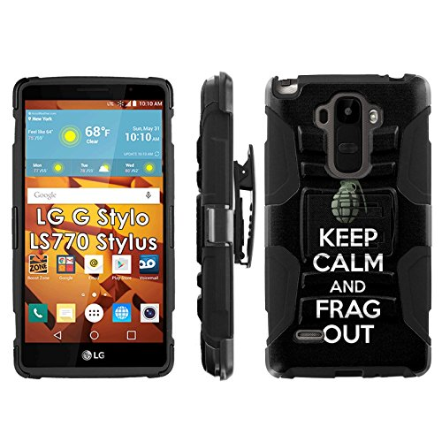 LG G Stylo LS770 H631 Phone Cover, Keep Calm and Frag Out - Gray- Blitz Hybrid Armor Phone Case for [LG G Stylo LS770 H631] with [Kickstand and Holster] by Mobiflare