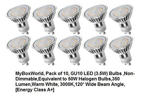 geekbox® GU10 bombillas LED (3,5 W, CE & RoHS),