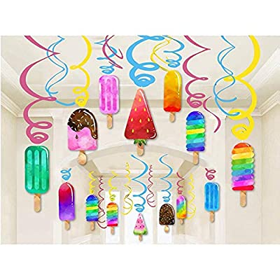 Kristin Paradise 30Ct Ice Cream Hanging Swirl Decorations, Summer Popsicle Party Supplies, Ice-Cream Birthday Theme, Kids Decor for First 1st Boy Girl Baby Shower, Ice Pop Paper Favors: Toys & Games