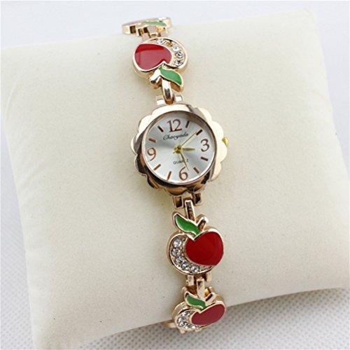 U-beauty Fashion Women Color Apple Rhinestone Stainless Steel Bracelet Wrist Watch Quartz Watches Ladies Wrist Watch Gift (Red)