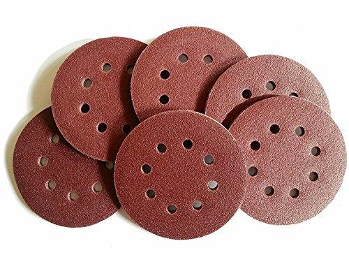 50 Sheets K180 Eccentric Sanding Discs Diameter 125 mm 8-Hole with Velcro...