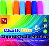 Liquid Chalk Markers Window Paint Pens. Unique Quality Reversible Tip Fluorescent Ink Color Pen Marker. Water Base Odorless Eco-frinedly Non-toxic. Used on Glossy Chalkboard Windows Mirror & LED Board