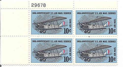 Airmail Plate Block (1968 Air Mail US Postage Stamp 10 Cent Plate Block MNH Scott #C74)