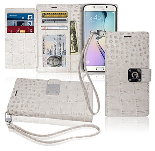 S6 Edge Wallet Case, Matt [ 8 Pockets ] 7 ID / Credit Card 1 Cash Slot, Power Magnetic Clip With Wrist Strap For Samsung Galaxy S6 Edge Leather Cover Flip Diary (White)