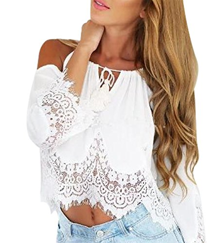 Cold Shoulder Tops Women Sexy Halter Tie Tank Shirts Blouses Crop Tops (L, White)