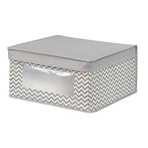 mDesign Soft Stackable Fabric Closet Storage Organizer Holder Bin with Clear Window, Attached Lid - for Bedroom, Hallway, Entryway, Bathroom - Chevron Zig-Zag Print - Medium - Taupe/Natural