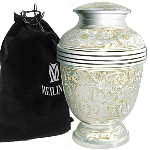 Cremation Urn Adult Ashes - Funeral Urn for Human Ashes Adult and Memorial - Hand Made in Brass/Hand Engraved - Display Burial Urn At Home or in Niche at Columbarium (Silvery Shine, Large keepsake Urn