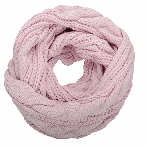 (NEOSAN Womens Thick Ribbed Knit Winter Infinity Circle Loop Scarf Twist Light Pink )