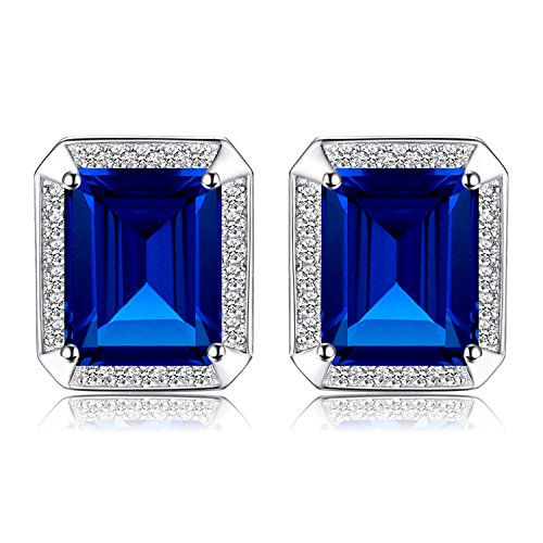 Jewelrypalace Men Luxury 8.6ct Created Blue Sapphire Wedding Cufflinks 925 Sterling - Cufflinks Sapphire