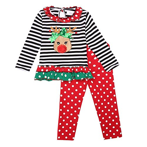Arshiner Baby Little Girls 2 PC Xmas Outfits Long Sleeve Christmas Sets Tops + Leggings,Red&black,80(Age for (80's Costume Ideas With Leggings)
