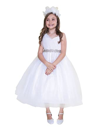 0b981193cdc7f Big Girls White Tulle One Shoulder Adorned Waist Junior Bridesmaid Dress 8
