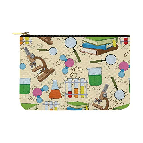 Kids Room Decor Simple Rectangular Cosmetic Bag,Science Education Lab Sketch Books Equation Loupe Microscope Molecule Flask for Woman,12.5
