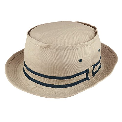 Armycrew Cotton Twill Fisherman Roll Up Bucket Hat with Stripe Band - Khaki Navy - ()