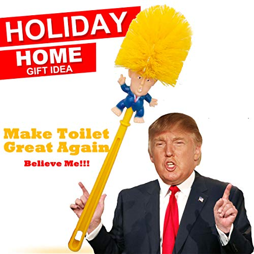 Donald Trump Toilet Brush Cleaner Scrubber Funny Trump Toilet Bowl Brush Gag Gift Doll for Bathroom Deep Cleaning Make Toilet Great Again